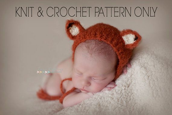 KNITTING   CROCHET pattern newborn bonnet baby FOX by lukeOWLlily ... d0b608e97dc