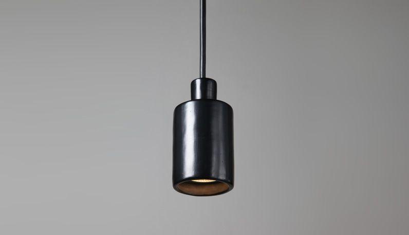 david pompa   black pottery lamp