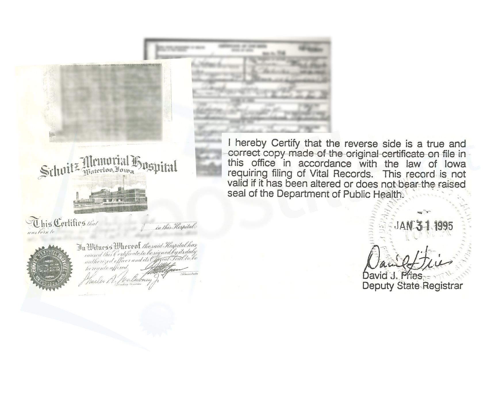 Iowa Birth Certificated Of 1954 Authenticated By David J Fries In
