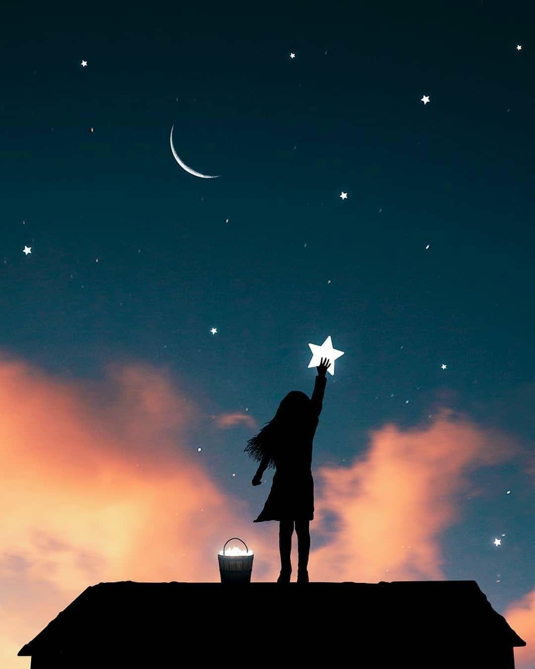 Pin By Melek Yahya On Dijital Fotografcilik Night Sky Art Sky Art Night Illustration