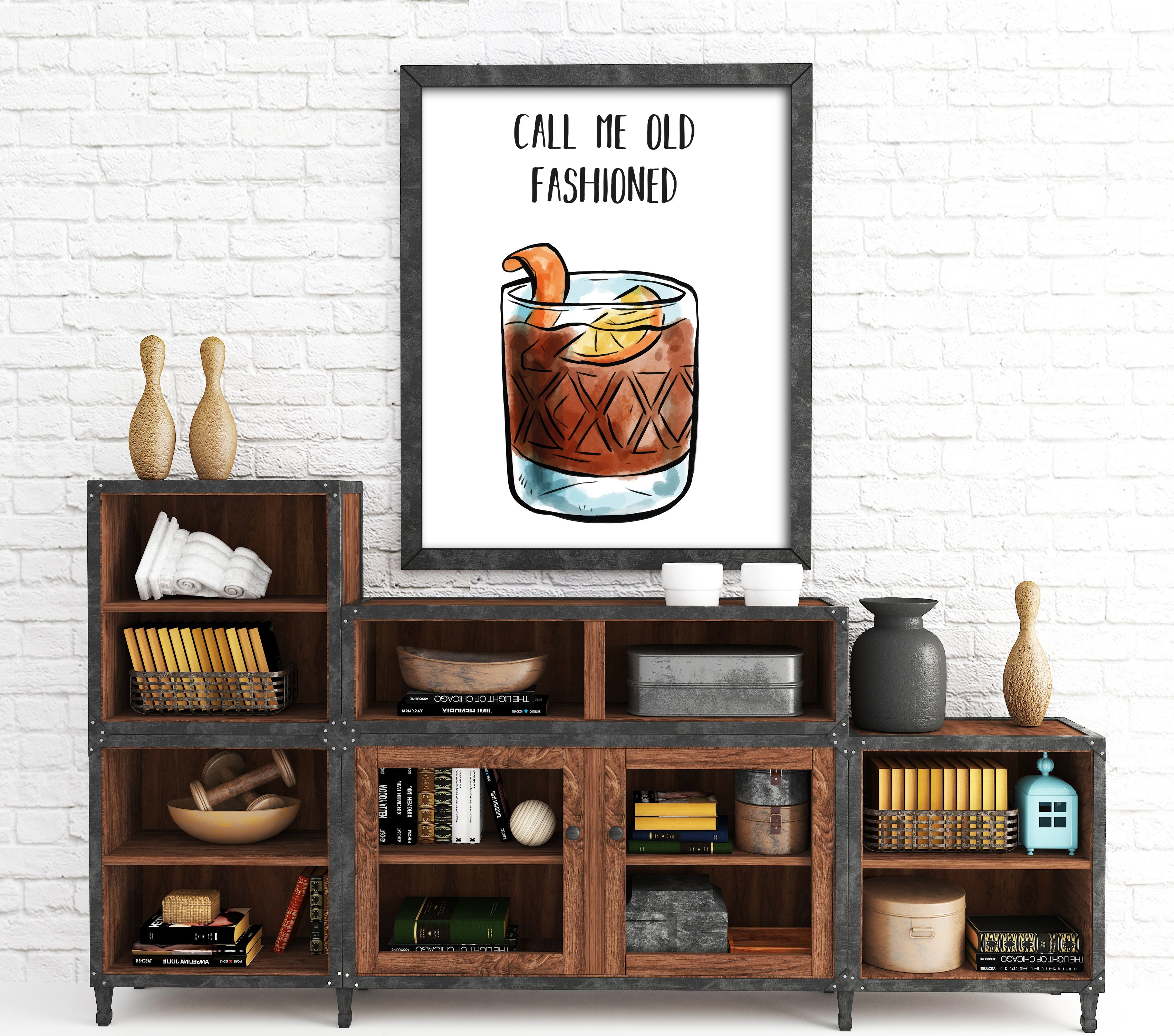 Old fashioned whiskey print whiskey wall art alcohol wall art