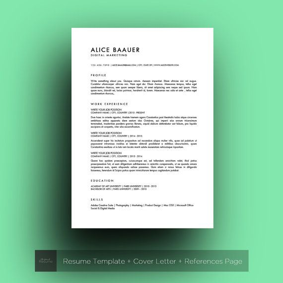 resume template  3 pages    cv  cover letter  u0026 references  for ms word