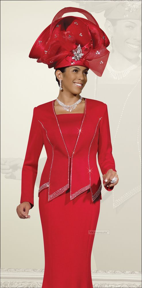 Mothers Day Womens Dramatic Red Sparkling Suit by Donna Vinci 2935 ...