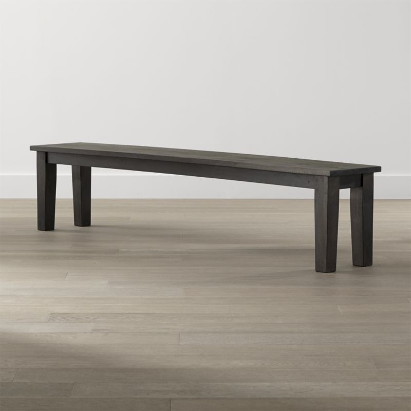 """Shop Basque Java 84"""" Bench.   Planks of sustainable solid mango wood are hand-planed, detailed with peg detail and stained a deep java brown.  Each oversized bench is waxed to a soft glow that allows the natural grain and knots of the wood to show through."""