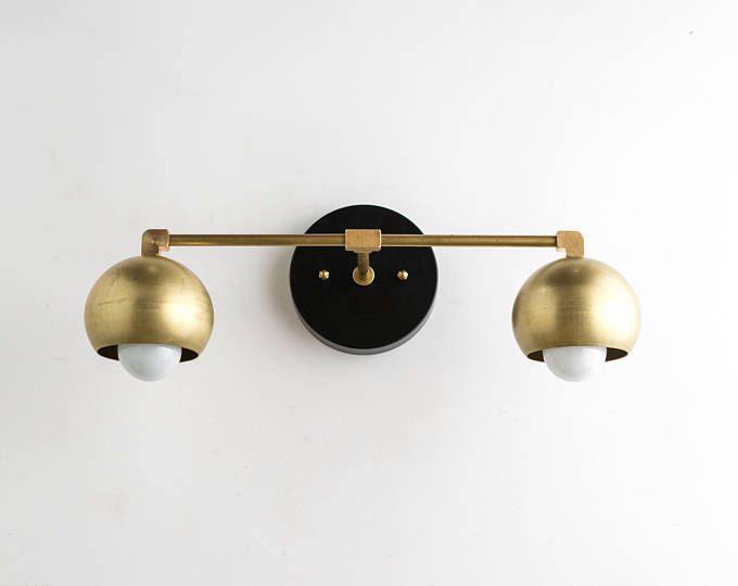 Gold Vanity Lights   Bathroom Lamp   Mid Century Bathroom   Brass Black  Vanity   Mid