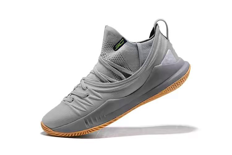 3800bc66f47 New Arrival Stephen Currys Under Armour Curry 5 Low Top Grey Gum Basketball  Shoes For Sale