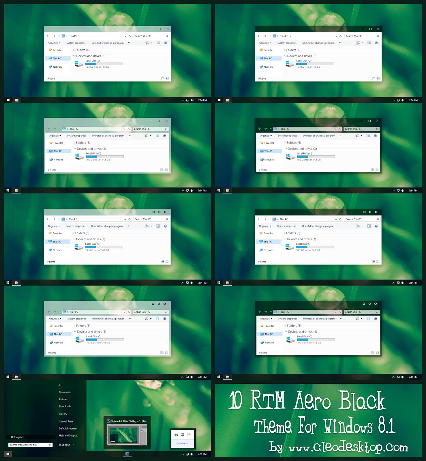 Win10 RTM Black Aero Theme For Windows 8 1 Cleodesktop