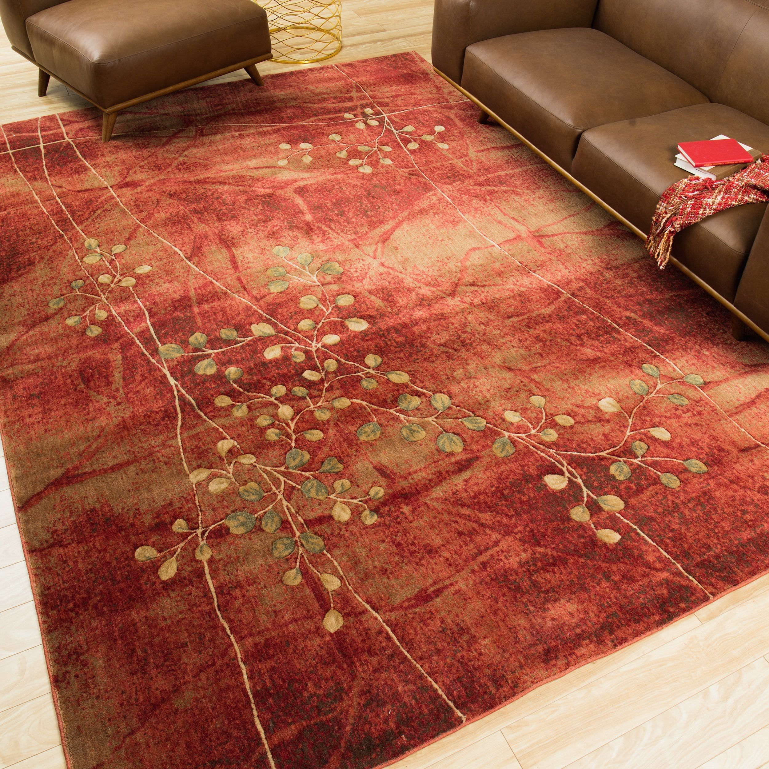 "Copper Grove Uwharrie Red Floral Area Rug (Red 7'9"" x 10'10"") (Polyacrylic, Abstract)"