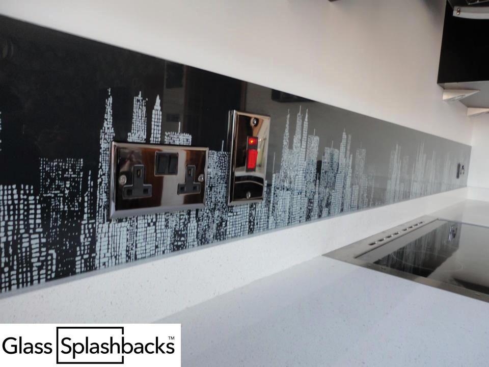 Unusual Cooker Hoods black patterned glass splashback. we create bespoke glass products