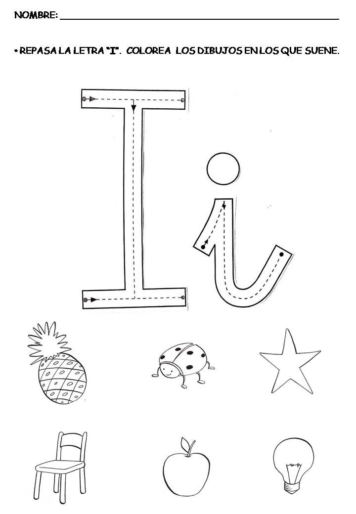 letra I vocales 04  Trabajando las vocales  Pinterest  Letras