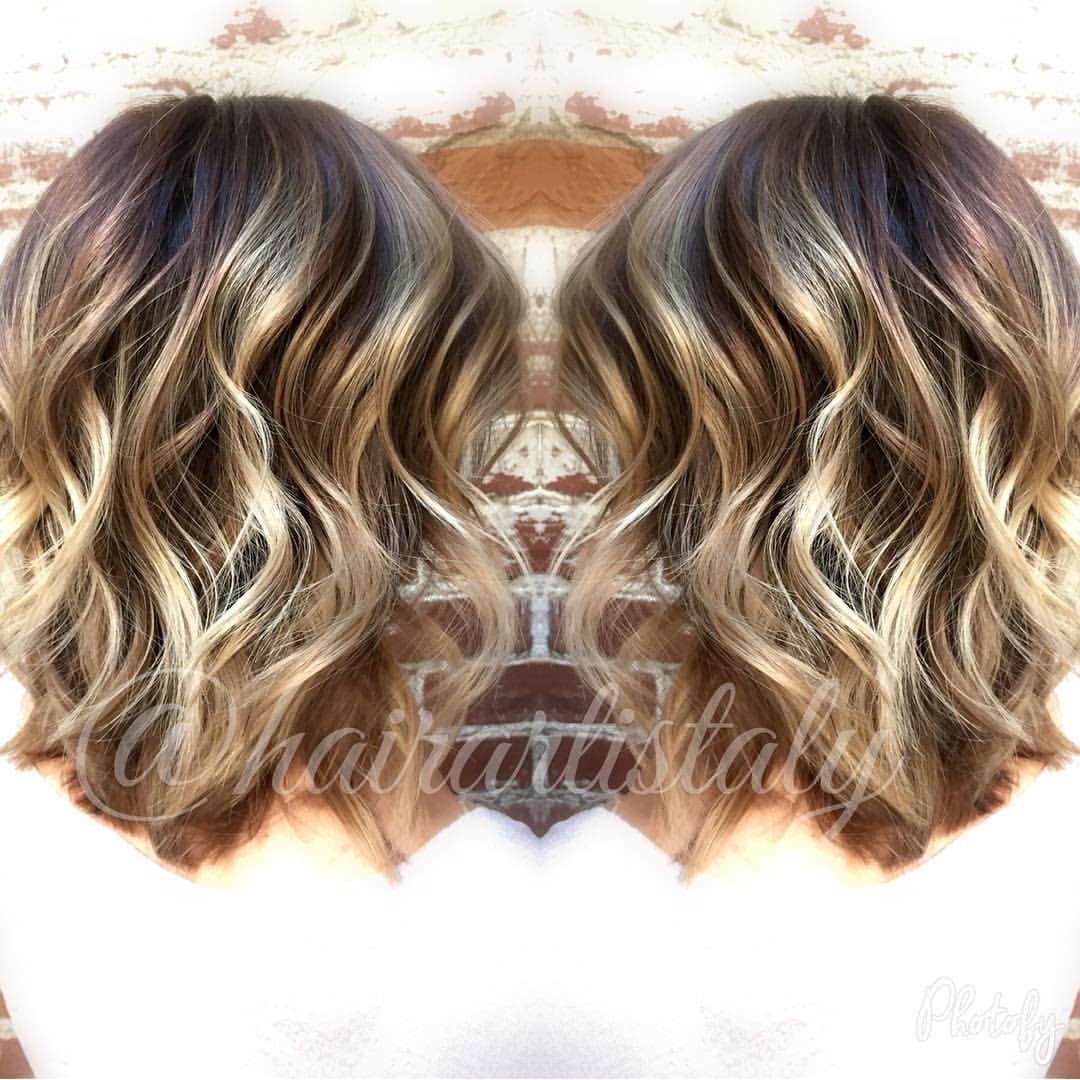 Dark Root Balayage Long Bob Haircut Hair By Aly Tompkins Mon Amie