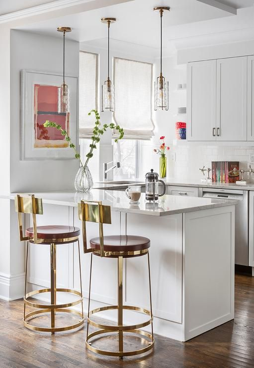 Kitchen Peninsula With Leather And Brass Bar Stools Transitional Kitchen Small White Kitchens Home Bar Counter Peninsula Kitchen Design