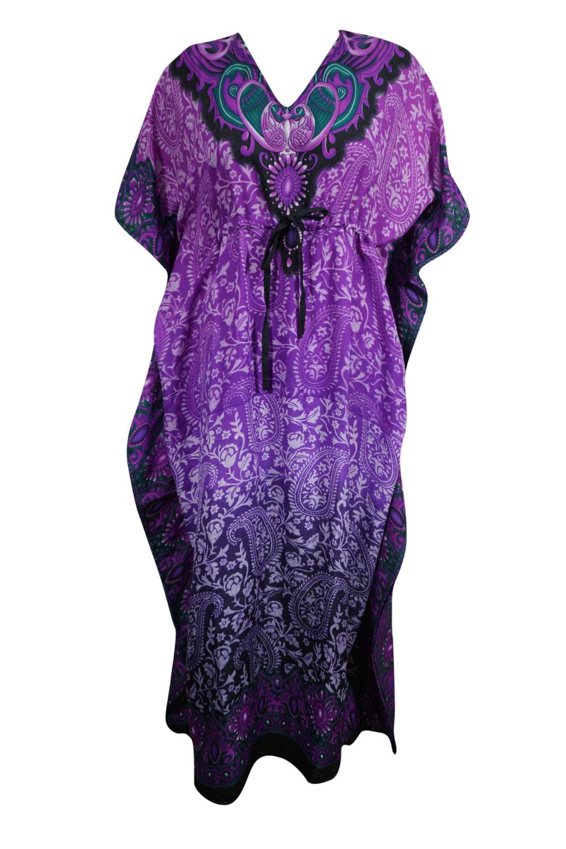Mogul Interior Mogul Women Purple Long Kaftan Dress Floral Print Tunic Long Maxi Kimono Caftan Gow Long Kaftan Dress Short Sleeve Summer Dresses Kaftan Dress [ 1501 x 1000 Pixel ]
