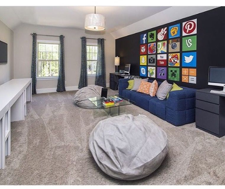 Wall of apps I painted for Theory Design Studio in Charlotte. #apps #gameroom
