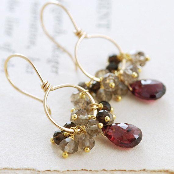 Garnet Earrings 14k Gold Fill With Smoky Quartz Cers Red Gemstone Hoop January Births
