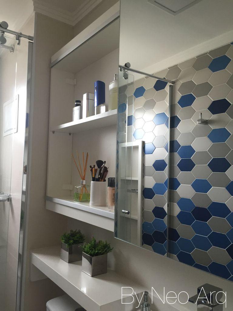 Nicho Para Banheiro Curitiba : Armario banheiro com espelho e nichos no reflexo destaque