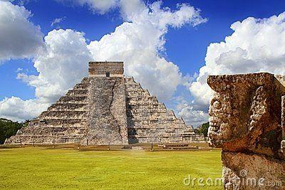 Chichen Itza Tzompantli the Wall of Skulls and Kukulkan pyramid