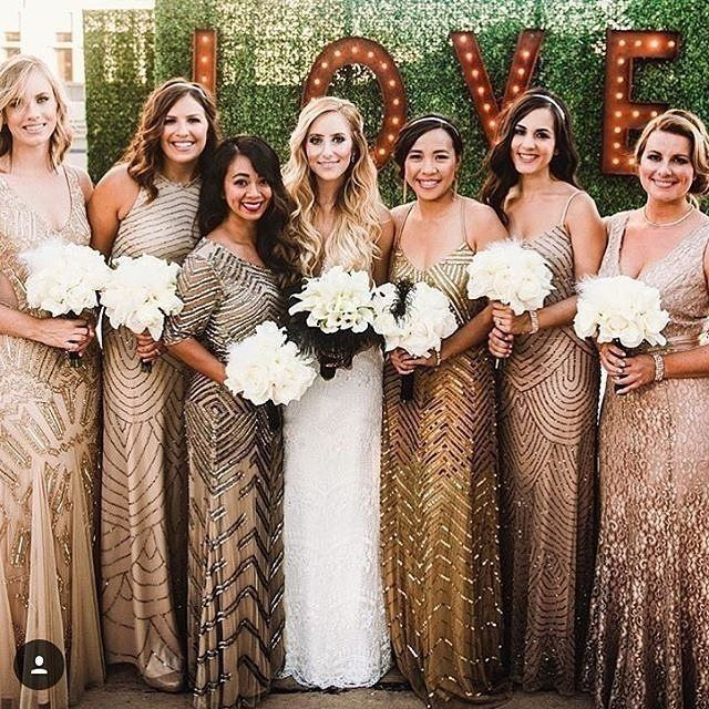Gold Bridesmaid Dresses: Sparkly Gold Beaded Mismatched Bridesmaids Dresses