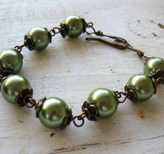 OOAK Antique Bronze Glass Sage Green Pearls Tibetan by MystiqueCat, $20.00