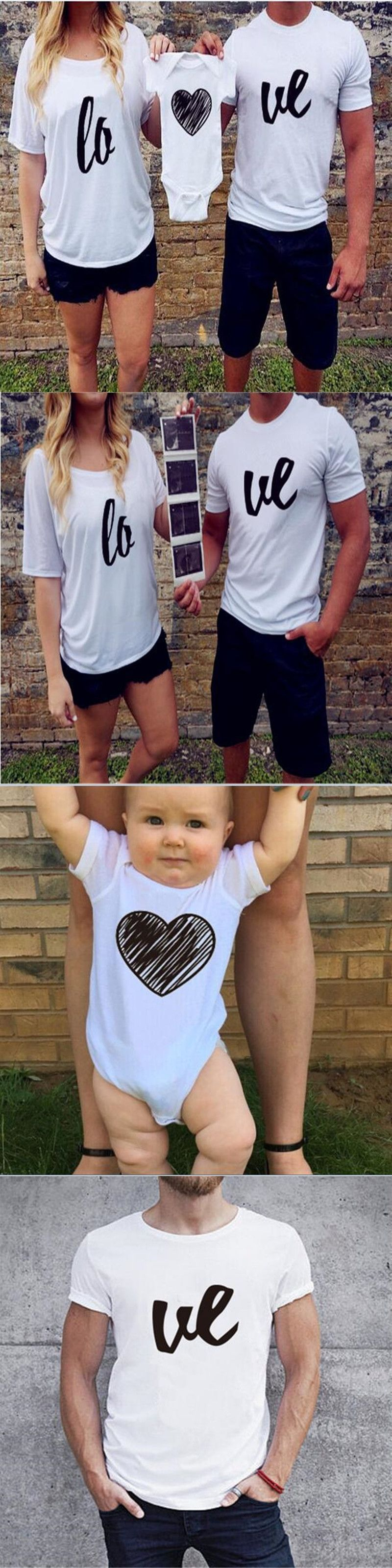 Summer Father Mother Baby T Shirt Short Sleeve White Love Print
