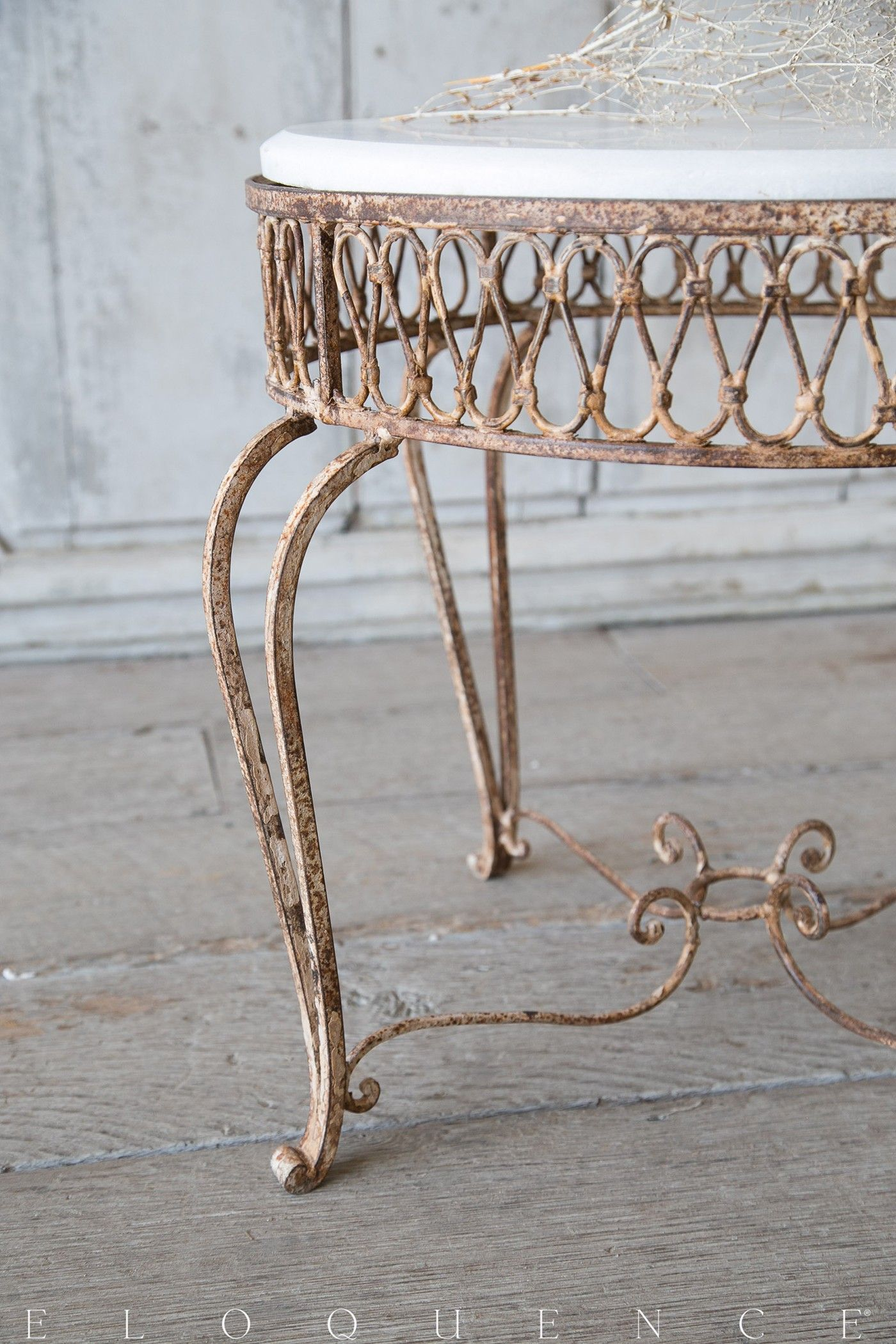 Gorgeous Vintage Iron Side Table in aged rusty patina finish Lovely
