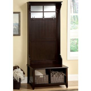 Walnut Shalleen Traditional Multi Purpose Bench Mirror 2 Baskets By Furniture Of America