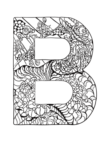 Letter B Zentangle Coloring Page From Zentangle Alphabet Category Select From 30582 Printable Crafts O Letter B Coloring Pages Coloring Letters Coloring Pages