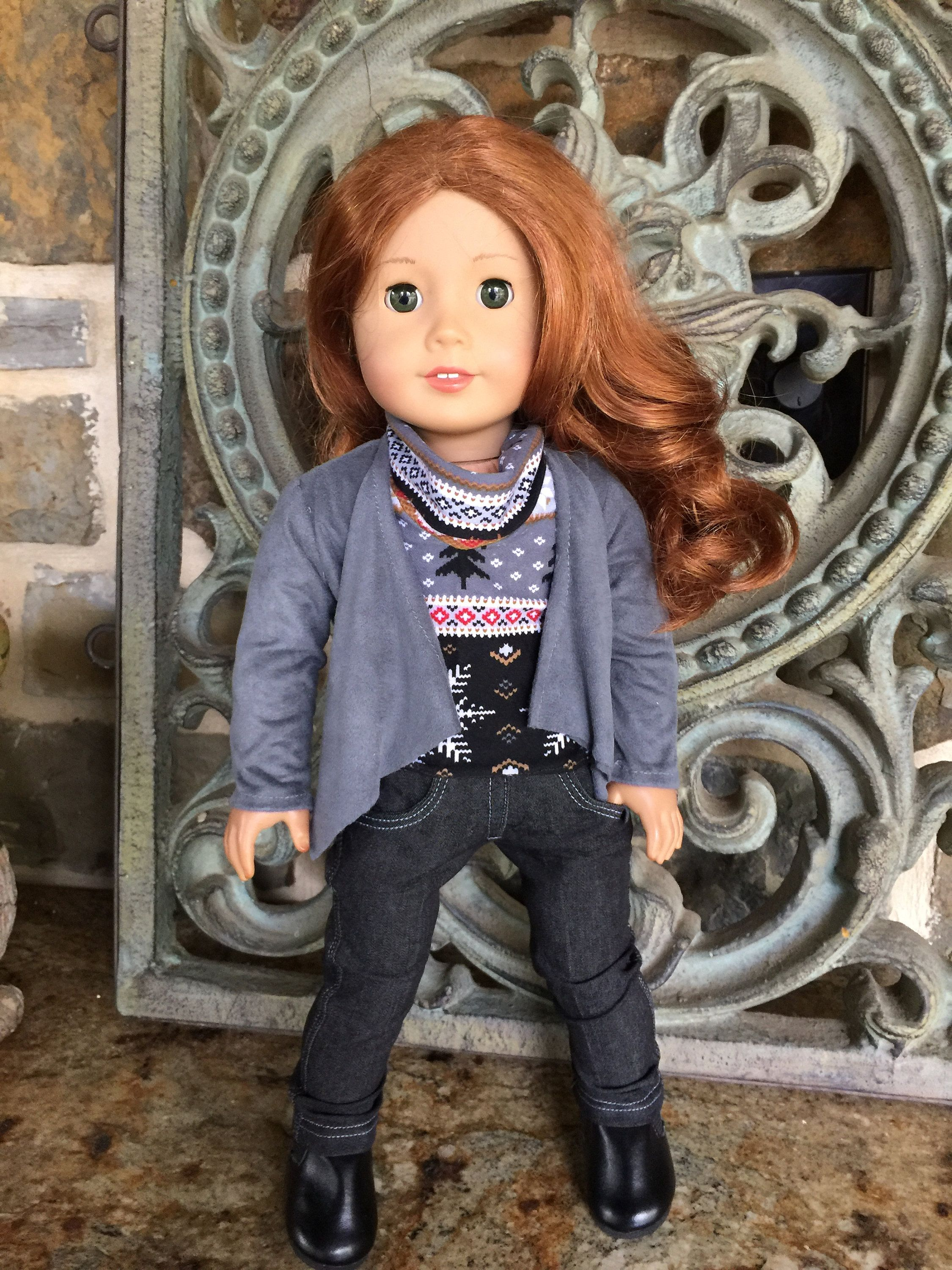 18 inch doll clothes made to fit dolls like the American Girl Doll- Soft grey suede cloth jacket-cowl neck top #18inchdollsandclothes