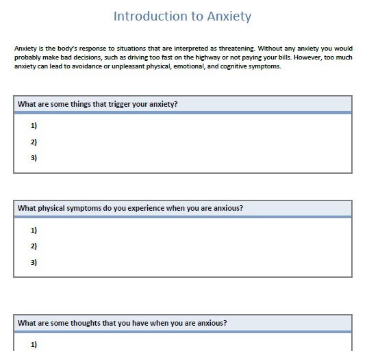 Worksheet 545760 Anxiety Worksheets Introduction to Anxiety – Anxiety Worksheet