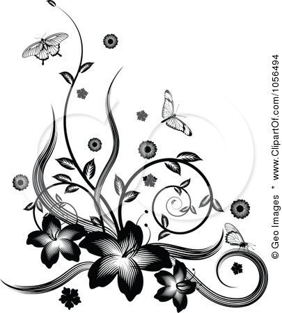 34 Awesome Black White Butterfly Border Clip Art Pattern Ideas