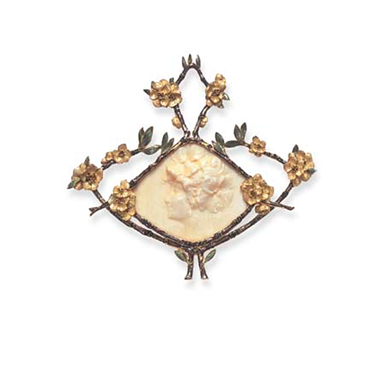 AN ART NOUVEAU IVORY AND ENAMEL PENDANT, BY RENE LALIQUE   The carved ivory plaque, depicting a maiden in profile, her tresses adorned by flowers, encased by brown and blue enameled branches, with sculpted iridescent yellow enameled flowers, and pale green leaves, mounted in gold, circa 1904-1905  Signed Lalique for René Lalique