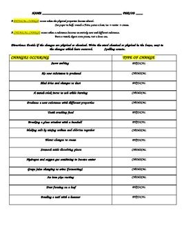 Physical / chemical change work sheet with answers | Chemical ...