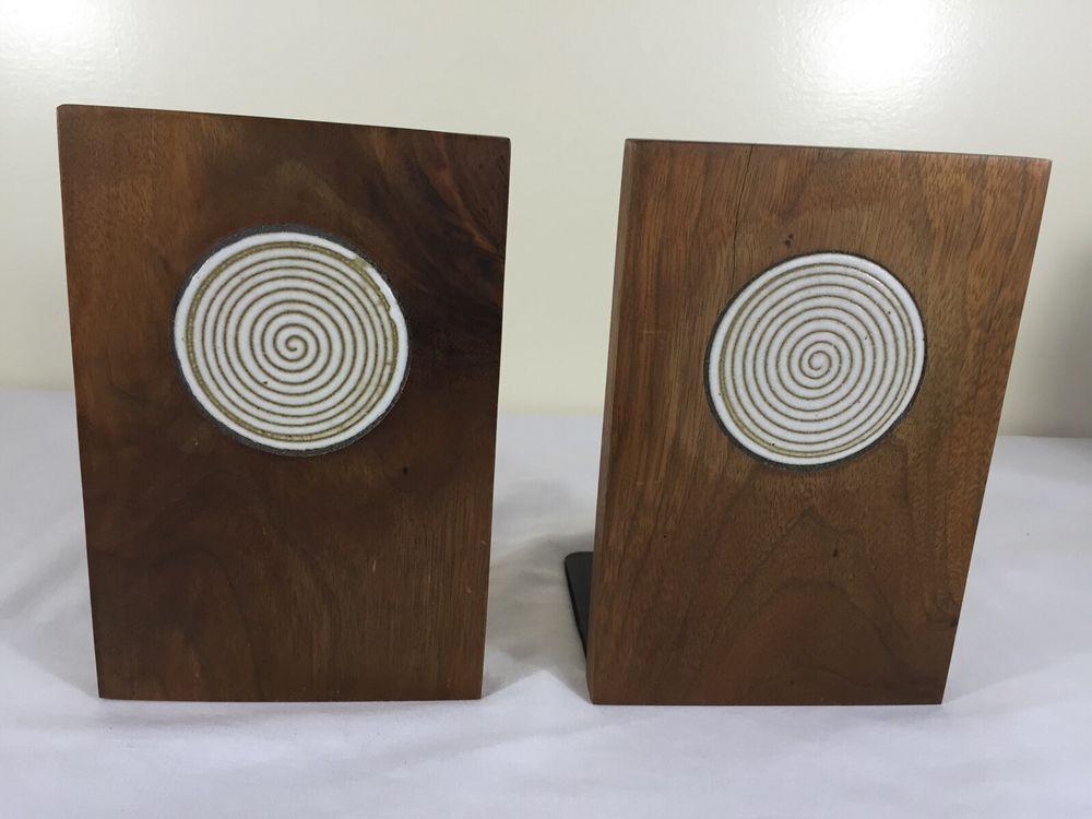 1960's Mid Century Modern Danish Marshall  Studio Martz Bookends Wood Tile GUC