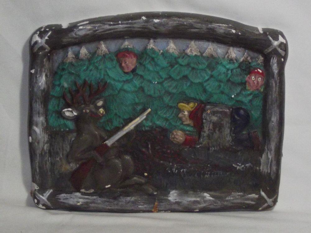 Vintage Chalkware Plaque -  Deer Hunting Hunters!