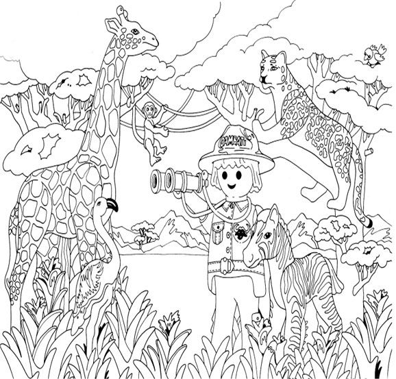Coloriage Playmobil Savane Playmobil