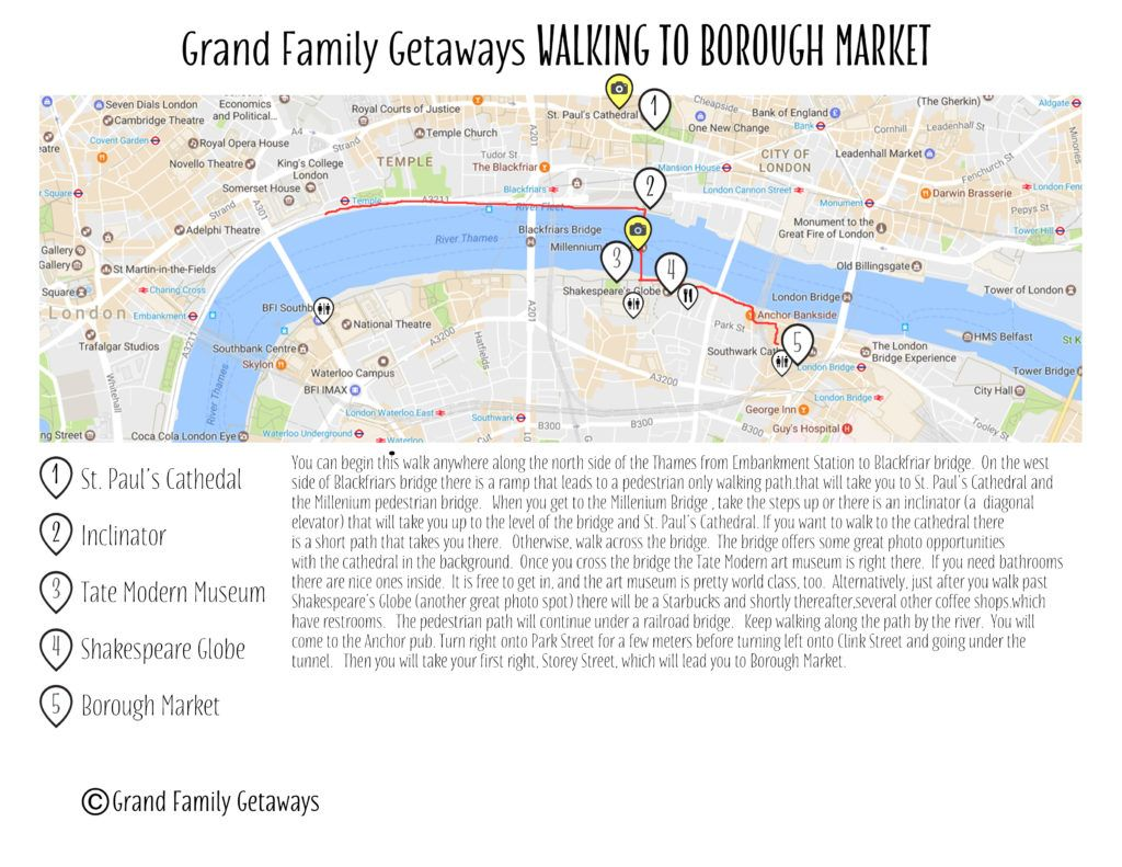 Walking map to Londons Borough Market Grand Family Getawayscom