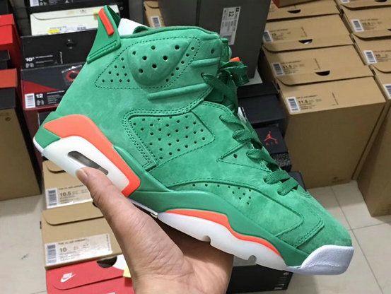 36b6289f26b 2017 2018 Daily Nike Authentic Cheap Air Jordan 6 Gatorade Green Team Orange  Summit White Basketball Shoe For Sale