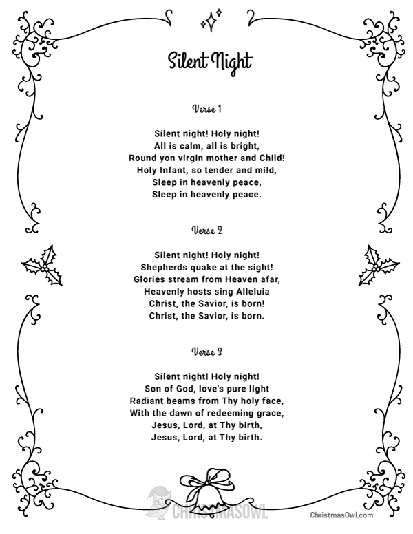 Free printable lyrics for Silent Night. Download them from