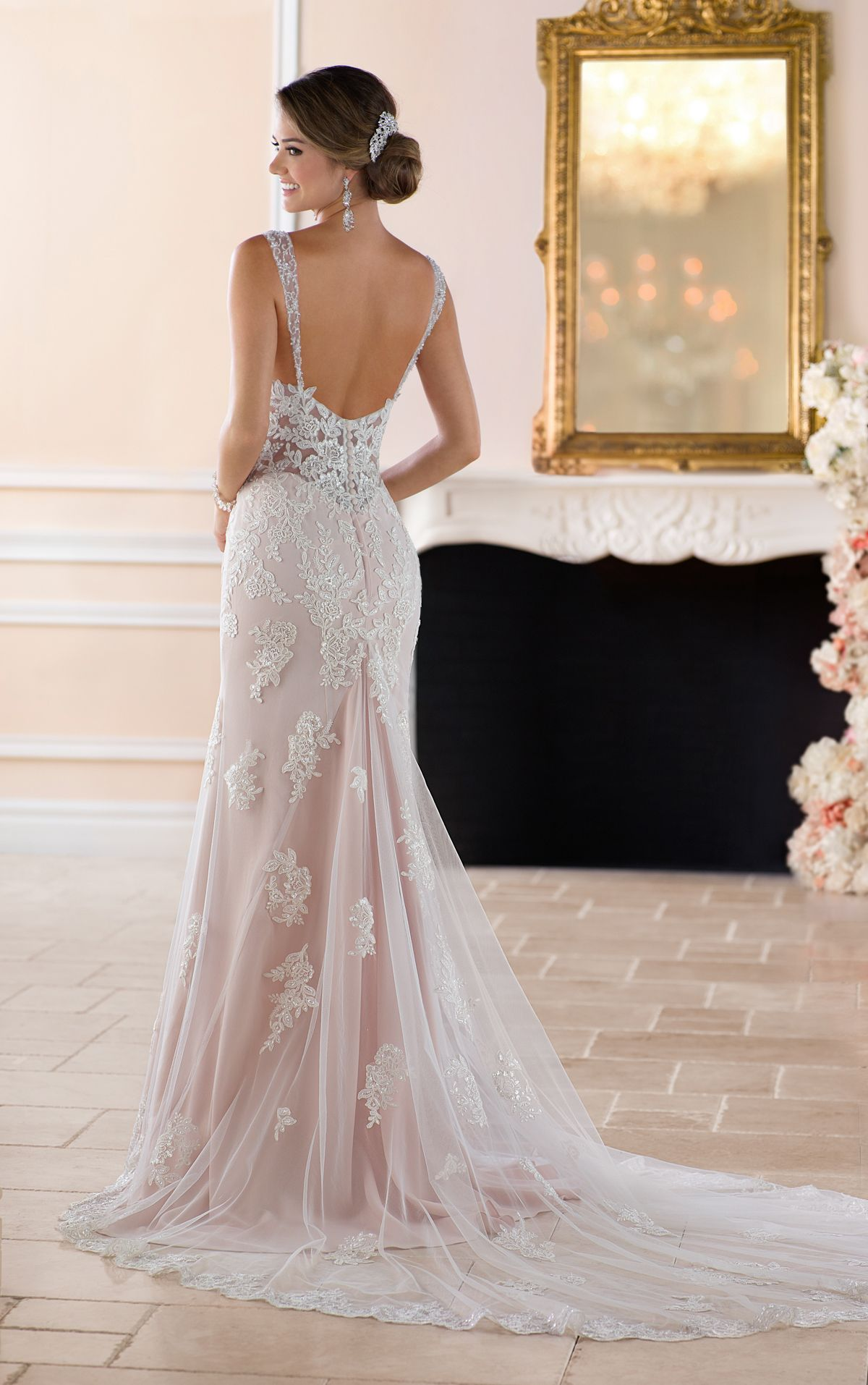 Old Hollywood Glamour Wedding Dress with Long Train in ...
