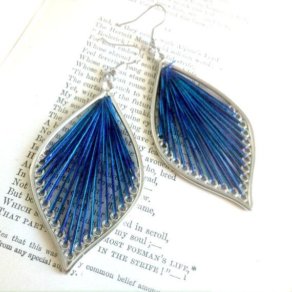 Blue and Purple Leaf Thread Earrings by EridaneasBoutique on Etsy