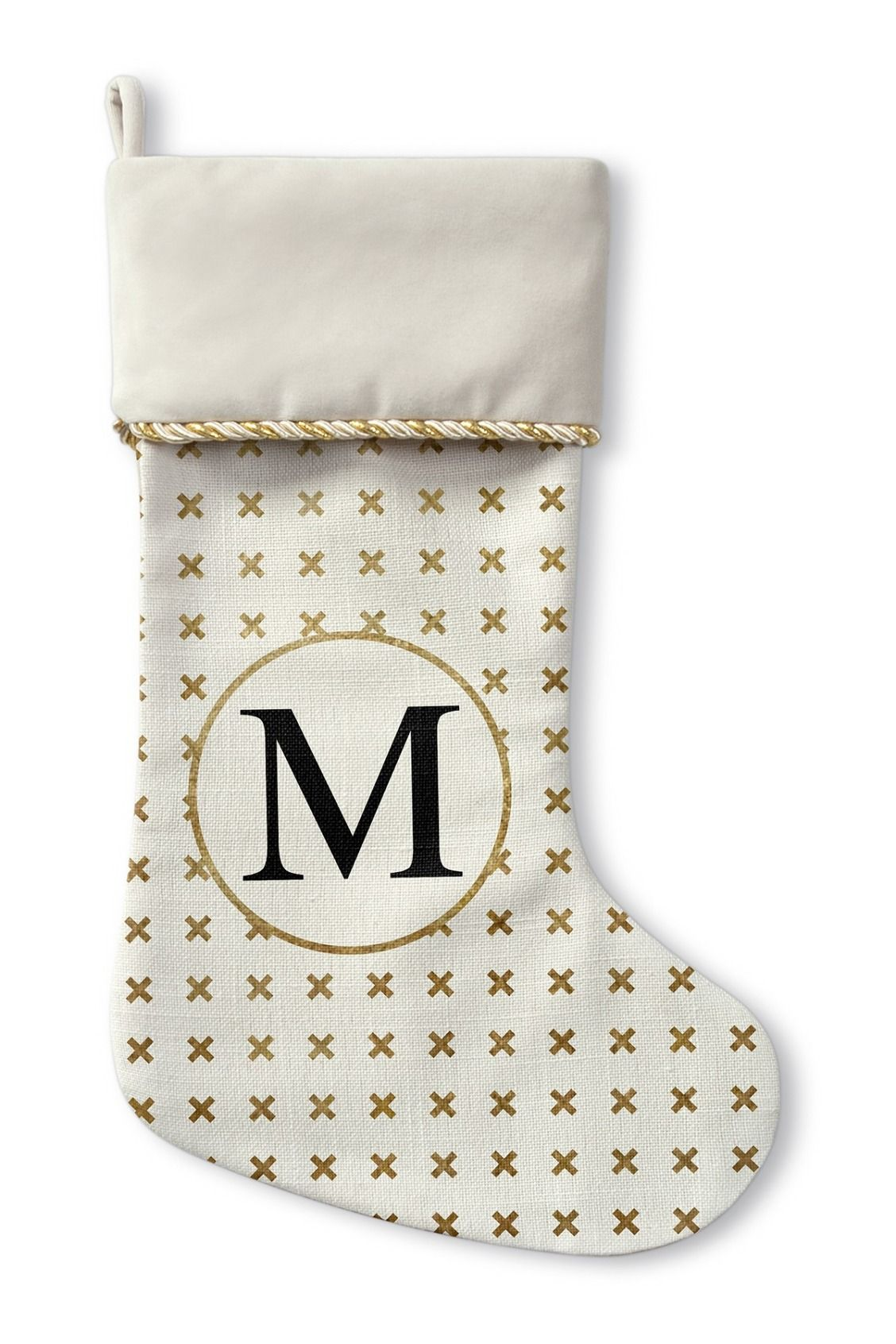 Fill this cute gold trimmed stocking with little treats and gifts ...