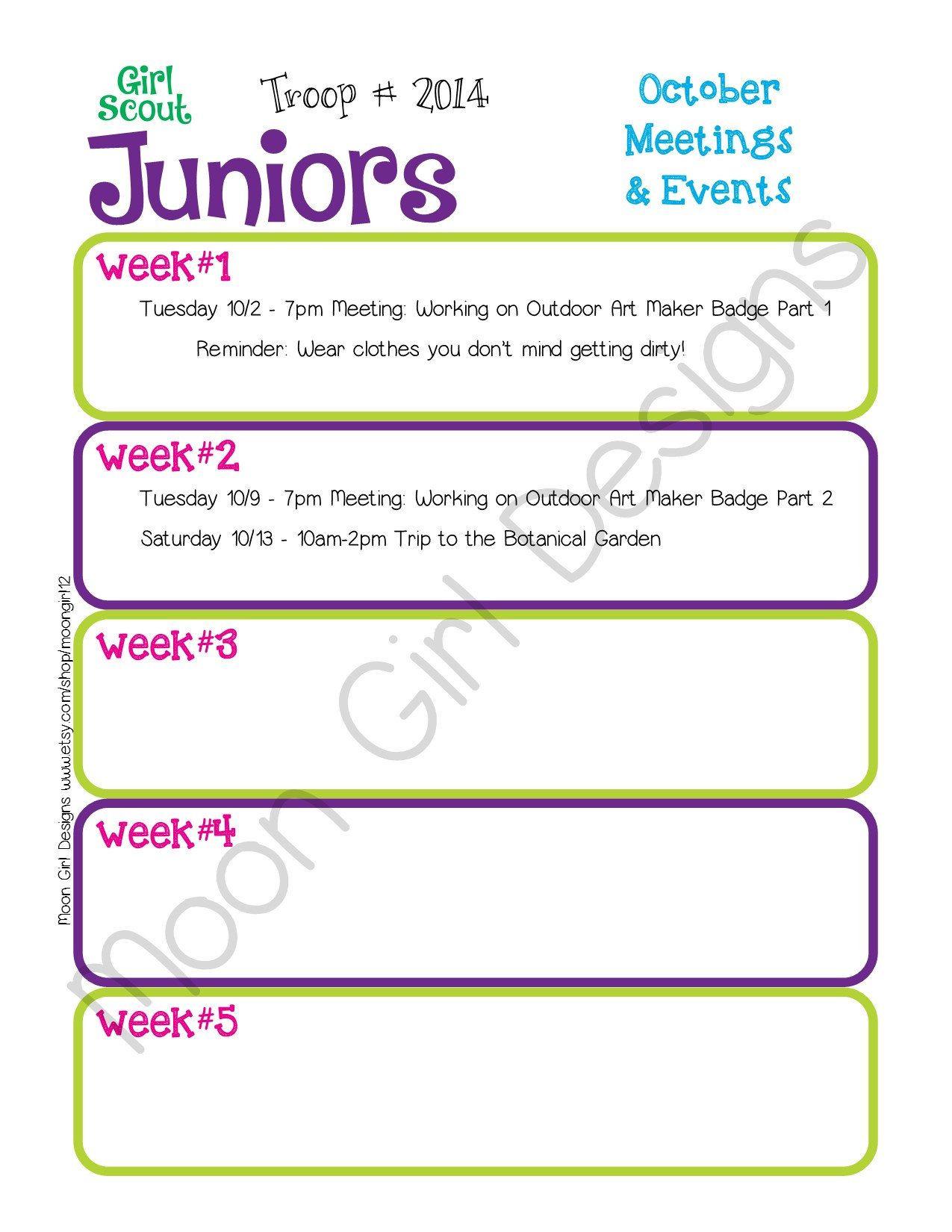 Junior Monthly Activity Calendar Girl Scouts Editable