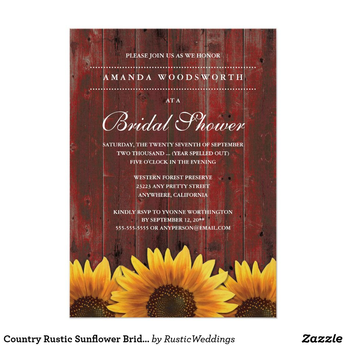 Personalized Country Rustic Sunflower Bridal Shower Invitation ...