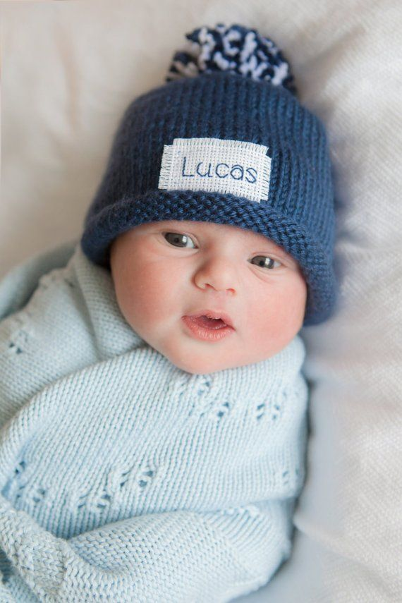 177b7862b Knit Baby Hat, BABY ANNOUNCEMENT, Personalized,New Baby, Newborn Hat ...