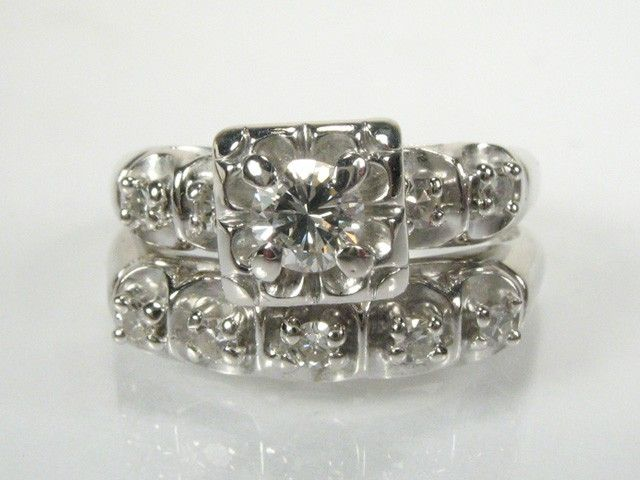 Vintage Diamond Wedding Rings Set   Circa 1950s   1960s   0.33 Carat Total  Weight