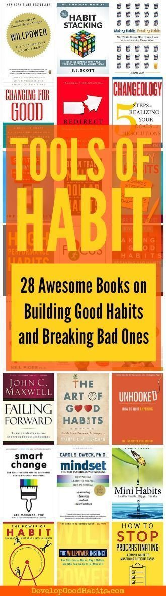 28 Best Books on Building Good Habits (and Breaking Bad Ones) BEST HABIT BOOKS -- 28 awesome books on changing habits, breaking bad habits and building good habits. Check these incredible books out to make a massive change in your life.