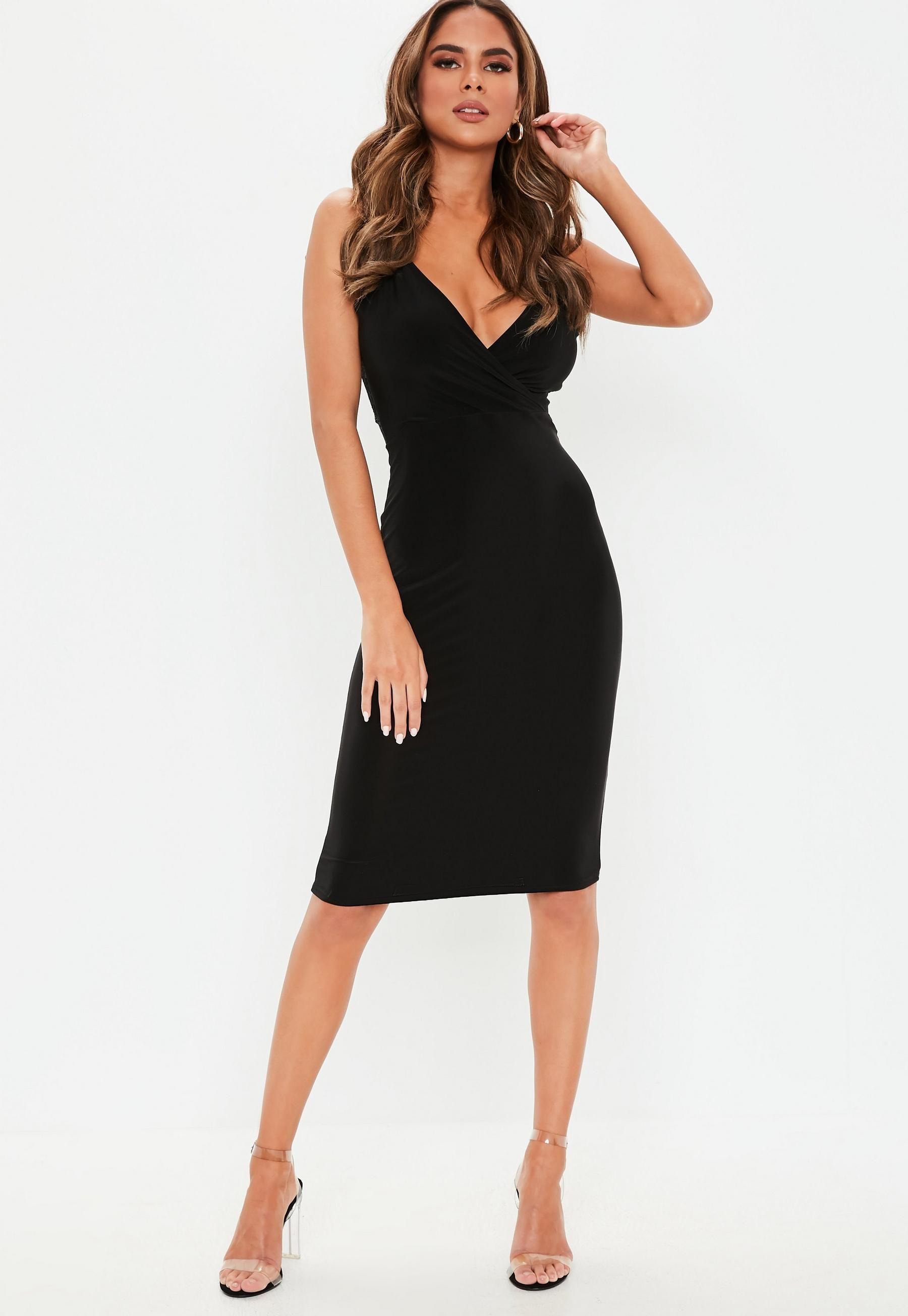 Black Strappy Lace Back Slinky Midi Dress Missguided Trending Dresses Women Dress Online Dresses [ 2608 x 1800 Pixel ]