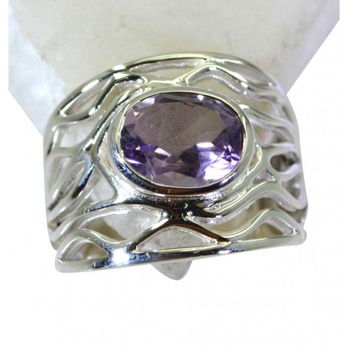 Riyo Elegant Amethyst 925 Solid Sterling Silver Purple Ring Srame90-2188