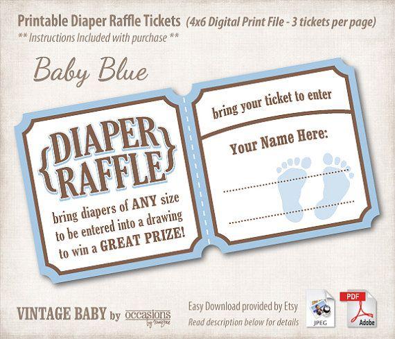 Baby Shower Diaper Raffle Tickets, 4x6 Digital File, Vintage Baby, Baby Blue