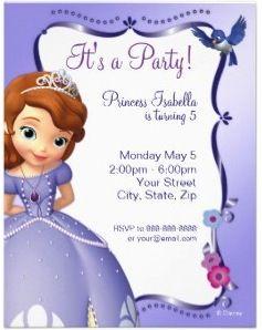Sofia The First Birthday Invitations Princess Pinterest